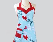 Flounce / Mod Aqua with Red Hummingbirds and Red Flounce a Retro Color Combo that is a Must Have