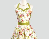 Womens Sweetheart Hostess Apron , Ruffled Sweetheart Neckline in Spring Apple Blossom Green and Pink on White