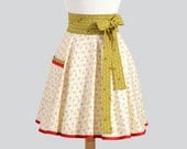 Waist  Apron . Christmas Half Apron in Ivory and Red Christmas Floral Bouquets for Holiday Entertaining