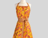 SALE Cute Kitsch - Purple and Orange Floral with Stripes