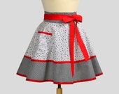 SALE Waist Half Apron , Black White and Red All Over
