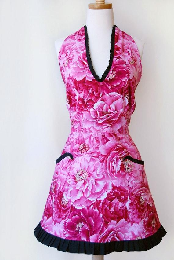Sexy Hostess Apron / Sexy Womens Halter Apron Hot Pink Roses with Black Ruffles Say Ooh la la