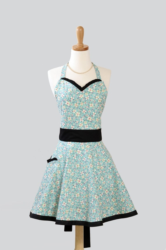 Womens Sweetheart Apron , Feminine Retro Ruffled Sweetheart Apron in Floral Farmdale Designer Fabric of Blossoms in White and Pink on Aqua