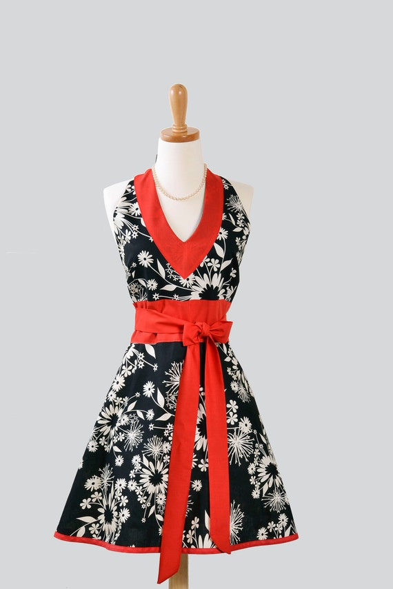 Sexy Womens Hostess : Halter Apron in Asian Black and White Floral with Red Rose Accent
