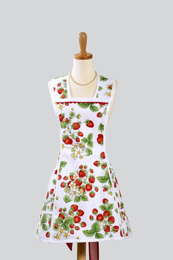 Womens Vintage Inspired Retro Style Apron - Red Strawberries in Fresh Spring White Background