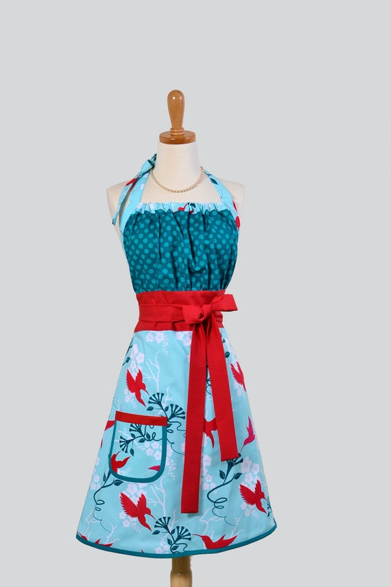 Cute Kitsch Apron / Custom Listing for Sophia Michael Millers Flora and Fauna Featuring Red Hummingbirds Turquoise Dots and Red Trims