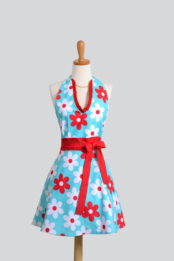 Womens Sexy Hostess Apron / Sexy Halter Apron on Soft Aqua with Bold Red