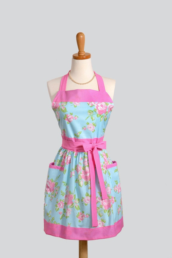 Womens Bib Apron / SALE Vintage Inspired Sky Blue with Soft Pink Roses Fabric Design from Tanya Whelan