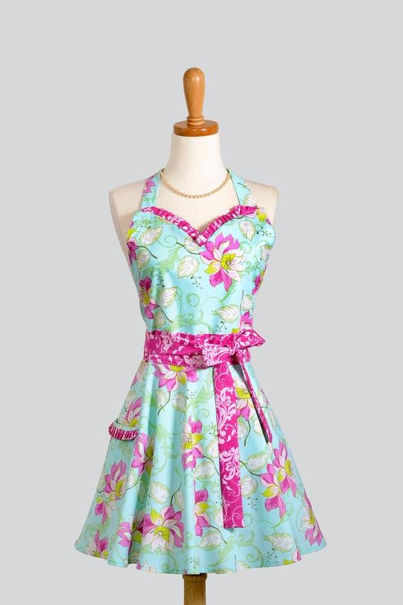 Womens Sweetheart Hostess Apron / Feminine and Beautiful aqua / teal fabric with soft Cerise floral and Trim