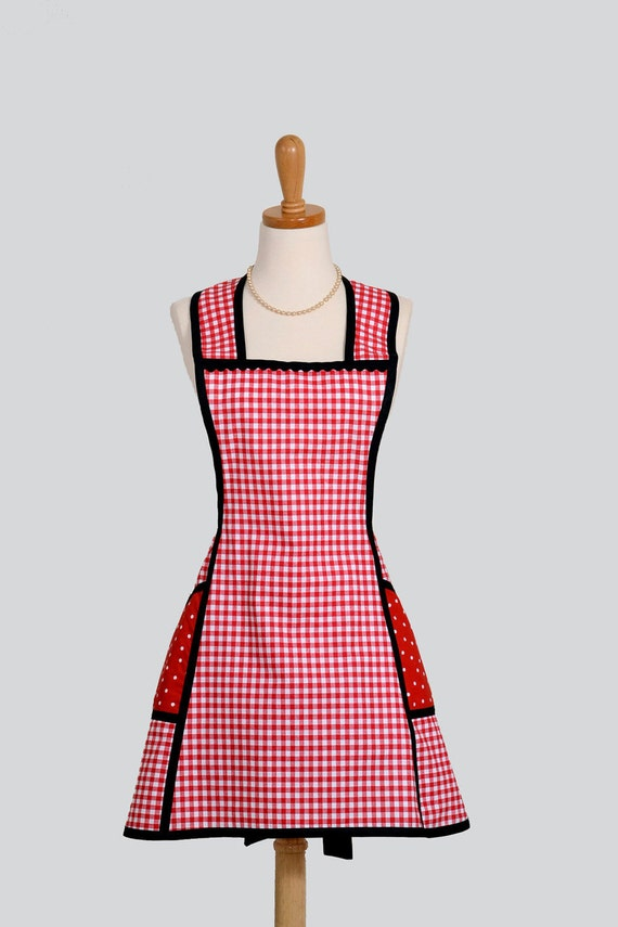 Vintage Inspired Apron Sassy Short Retro Style Apron In Red