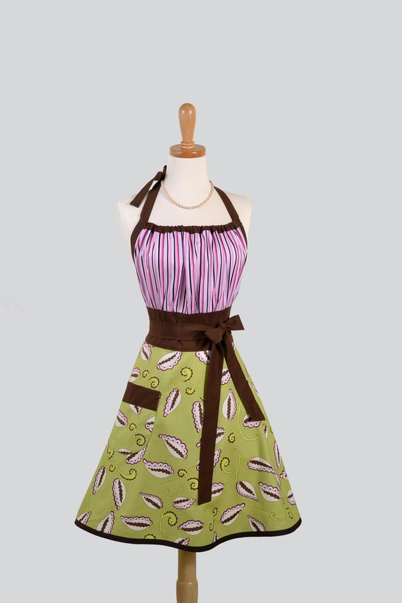 Cute Kitsch Apron : Modern Design in Green and Pink Leafy Skirt with Pink Striped Bodice