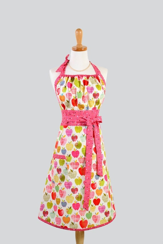 Cute Kitsch Apron - Modern Design in Farmdale Sketched Apples of Pink and Green with Raspberry Pink Trim