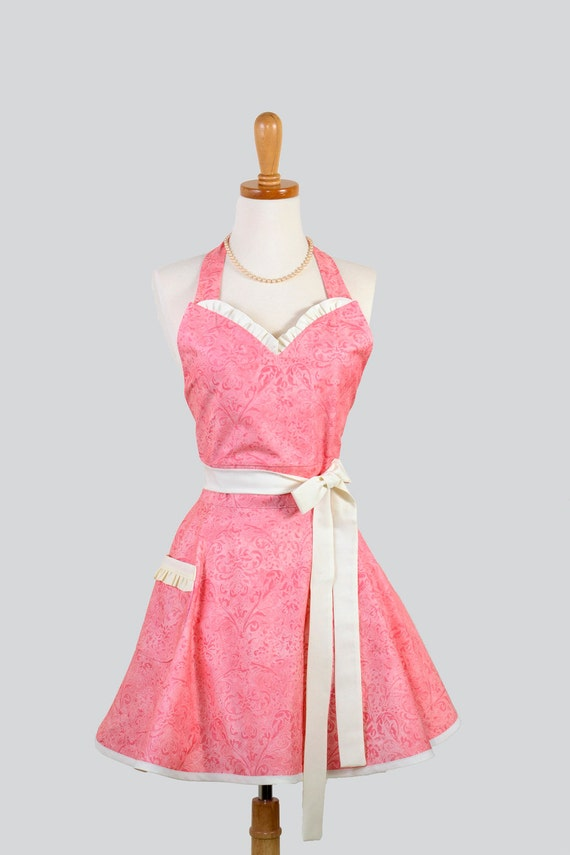 Womens Sweetheart Hostess Apron / Tone on Tone Pink Damask trimmed in Ivory