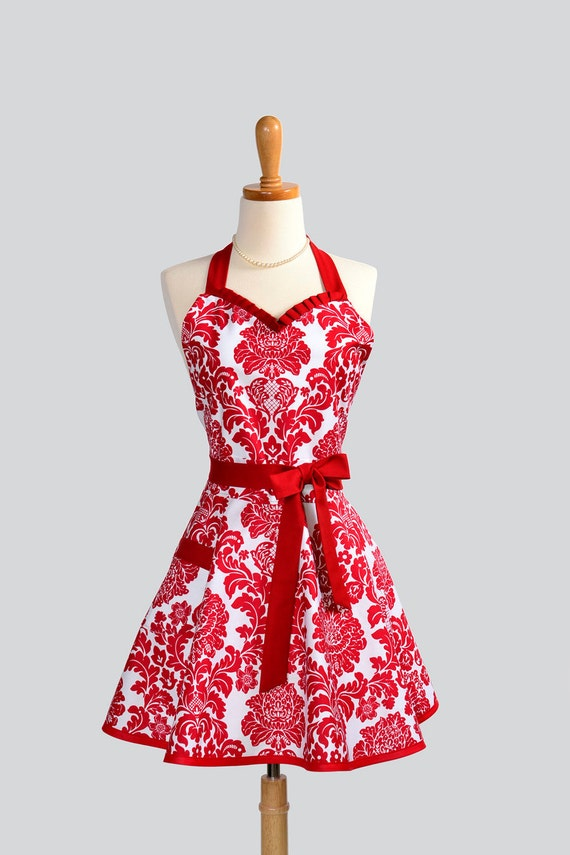 Womens Sweetheart Hostess Apron - Sexy Retro Ruffled Sweetheart in Peppermint Red Dandy Damask by Michael Miller