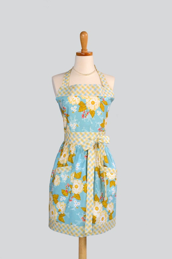 Womens Bib Apron / SALE Vintage Inspired Sky Blue with Soft Creamy Floral and Buttery Yellow