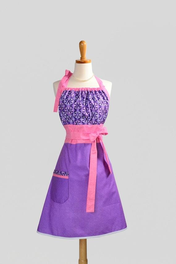 Cute Kitsch Retro Apron . Full Kitchen Womens Apron Handmade Purple Cowgirl Paisley Bandana by Michael Miller