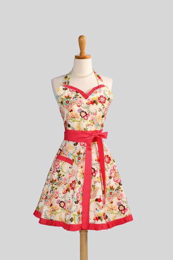 Womens Sweetheart Apron / Sophie from Moda Fabrics Beautiful Pastel Floral with Red Check Trim