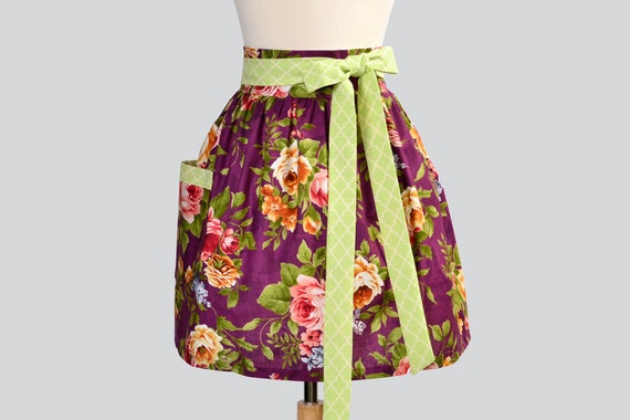SALE Waist  Apron - Handmade Vintage Style Wild Roses in Deep Plum with Pink Floral and Mint Green Trim