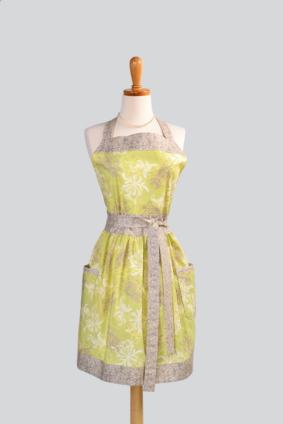 Womens Bib Full Apron . Full Kitchen Apron Handmade Retro Chic Blooms and Vines on Lime Perfect for Monogram or Personalization