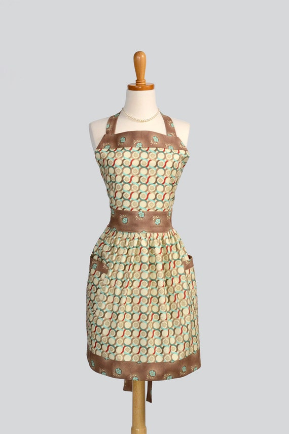 Womens Bib Full Apron . Full Kitchen Apron in Joel Dewberry Fabric Brown and Teal Geometric Design Perfect for Monogram or Personalization