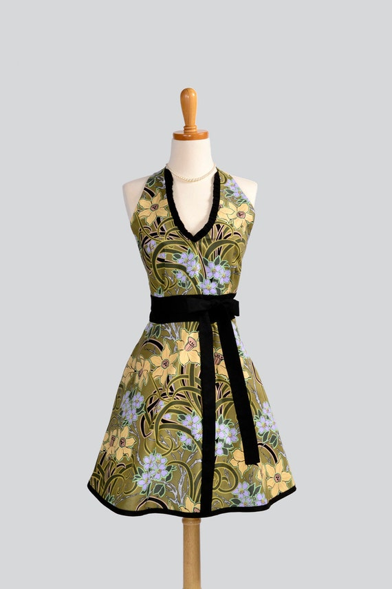 Womens Halter Hostess . Classy Apron Yellow and Lavender Daffodils With Black and Green Foliage