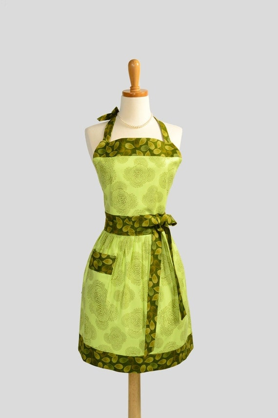Womens Bib Full Apron , Full Handmade Kitchen Apron in  Amy Butler Midwest Modern Floral Olive Buds On A Sage Background