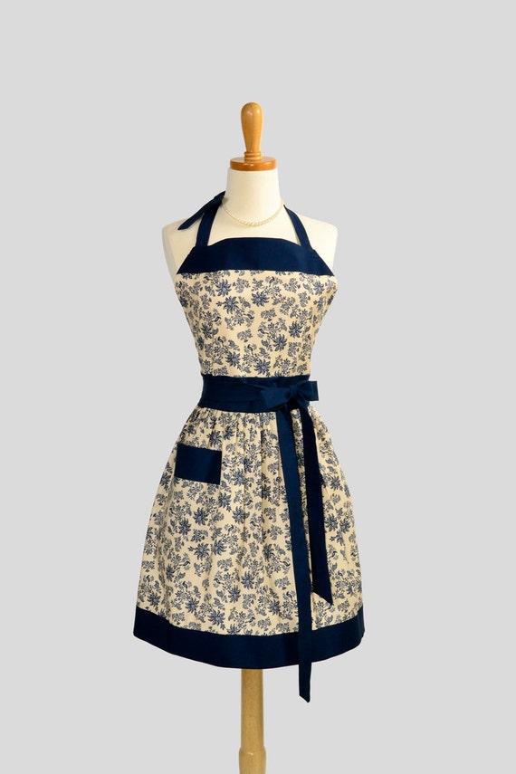 Retro Vintage Bib Apron , Handmade Womens Full Apron Floral Pattern In Cream and Navy Blue