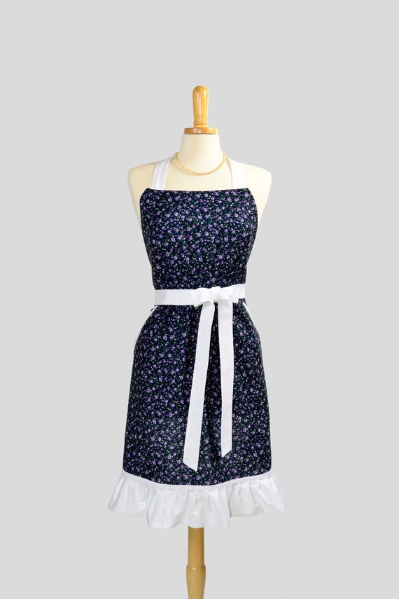 Cute Kitsch Retro Apron : Full Kitchen Womens Apron in Purple Petite Floral and Wide White ruffle