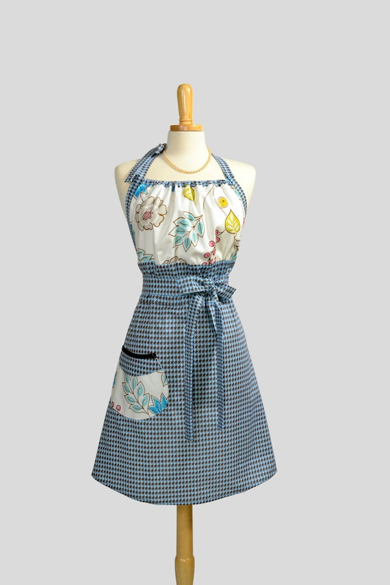 20% Off Sale Cute Kitsch Retro Apron . Full Kitchen Womens Apron Handmade Dena Designs Leanika Blue Pink Floral