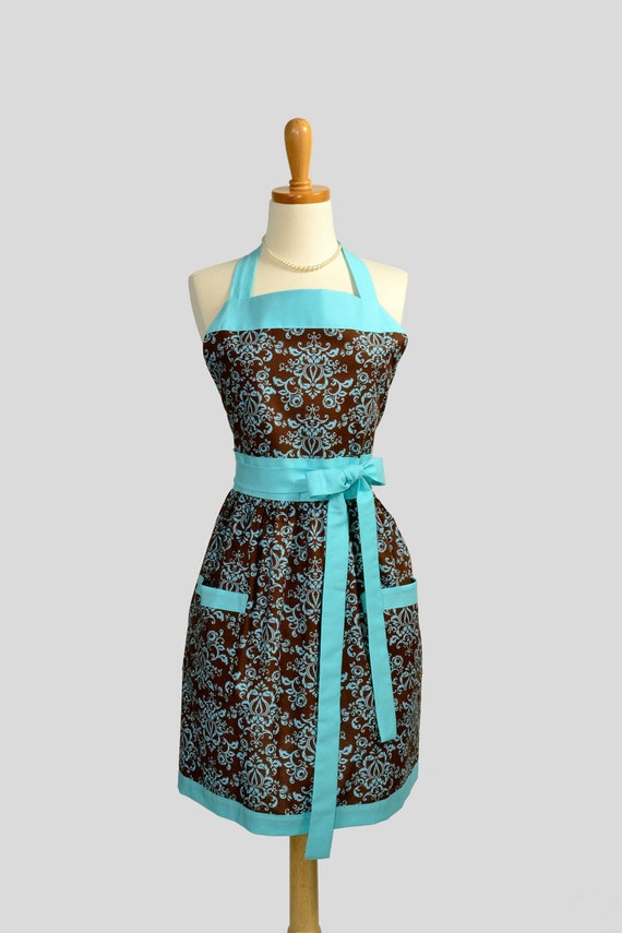 RESERVED for SHEILA TOBLER Womens Bib Apron / Retro Brown Damask and Tiffany Blue the Perfect Gift for Every Mother or Homemaker