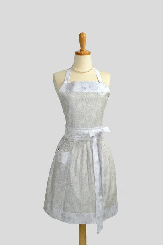 Full Bib Womens Apron , Vintage Style Apron Elegant Paisley Floral Grey and White Retro Apron Cute Apron Personalize or Monogram