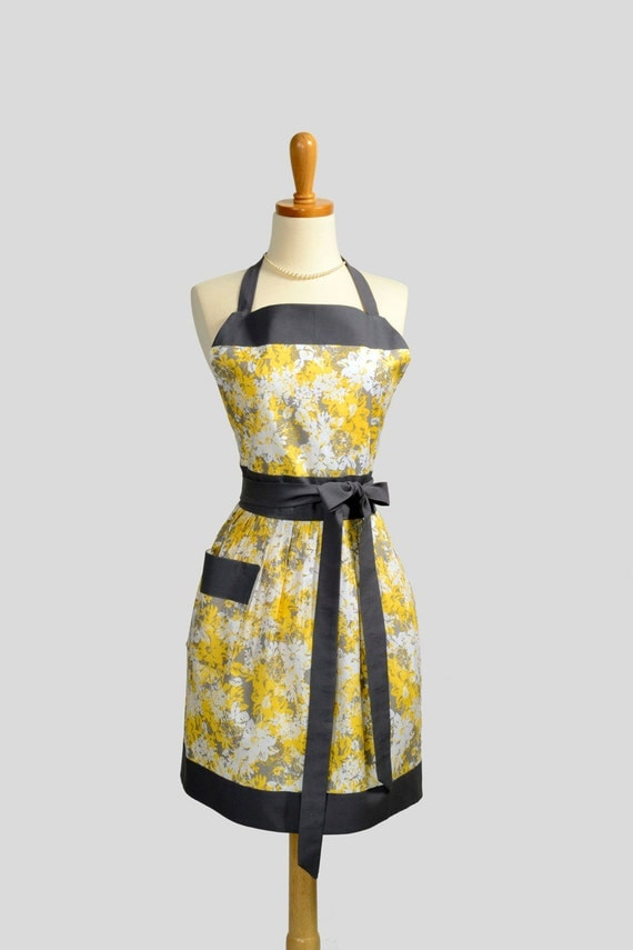 Womens Bib Full Apron , Full Handmade Kitchen Apron in Elegant Yellow White Grey Floral Dark Charcoal Trim Perfect for Personalization