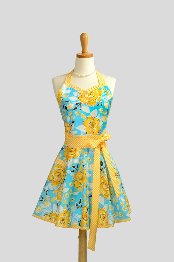 Womens Sweetheart Hostess Apron - Handmade Retro Ruffled Tea Garden Floral in Teal and Yellow with Gingham Trim