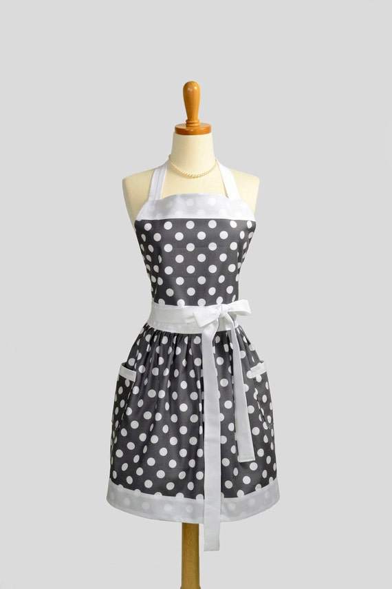 Womens Bib Full Apron - Handmade Vintage Style Gray White Polka Dot Retro Kitchen Apron Personalize or Monogram