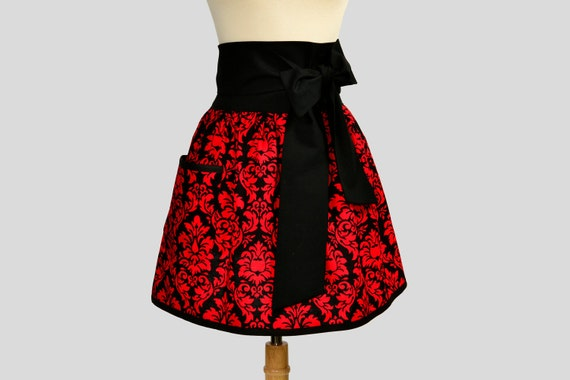 Retro Womens Half Apron : Womens Half Apron in Obi Stye Michael Miller Red and Black Damask Elegant Holiday Hostess Apron