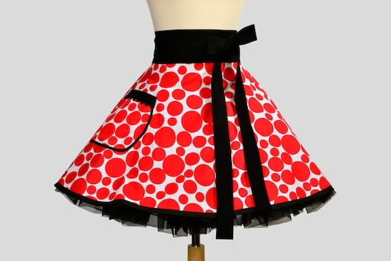 Waist  Apron / Handmade Circle Waist Apron in Small to Large Red Scattered Dots Trimmed in black