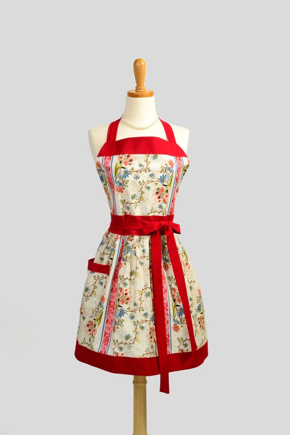 Womens Bib Full Apron - Handmade Retro Kitchen Apron in Red and Blue Floral with Creamy Ivory Colors Personalize or Monogram