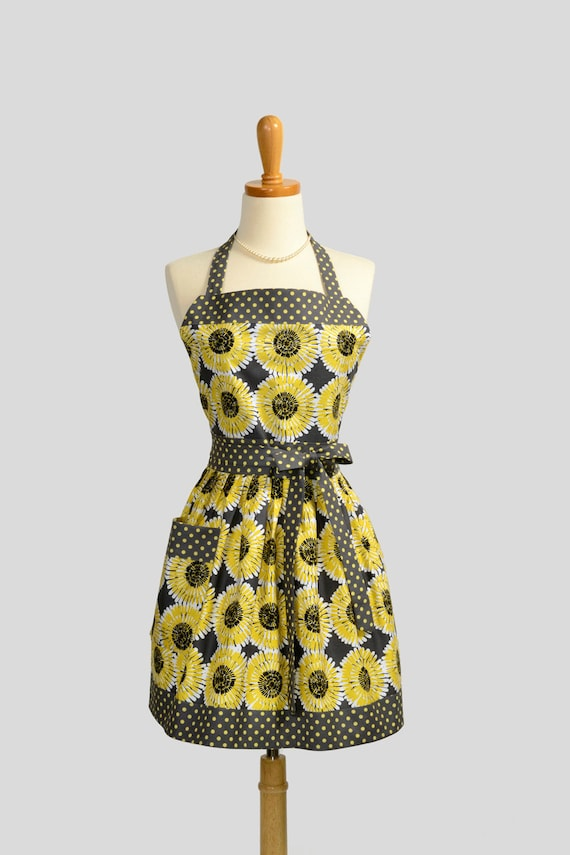Womens Bib Full Apron : Full Kitchen Apron Michael Miller Gray Citron  Daisies Perfect for Monogram or Personalization