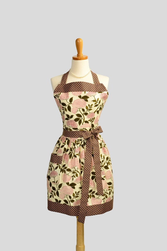 Womens Bib Full Apron : Full Kitchen Apron Pomare Floral Cream with Squared Bolts Lilac Trim Perfect for Monogram or Personalization