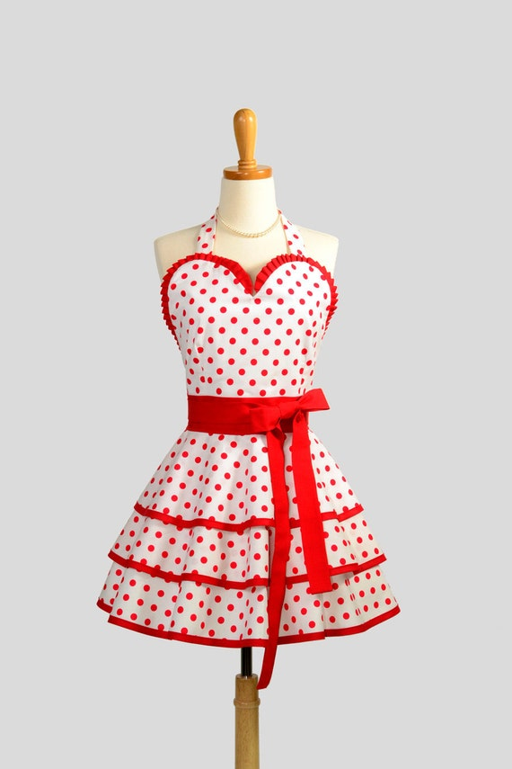 Womens Retro Ruffled Pin Up Sweetheart Apron - Handmade Sexy White and Red Dots and Ruffles