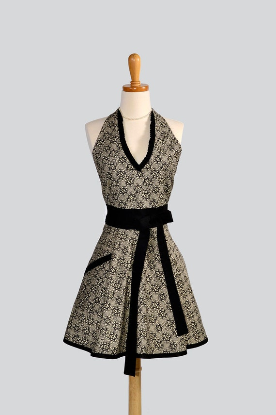 Halter Womens  Apron . Cute Handmade Full Bib Kitchen Halter Apron Made With One Piece Skirt in Black and Tan Design and Trimmed with Black