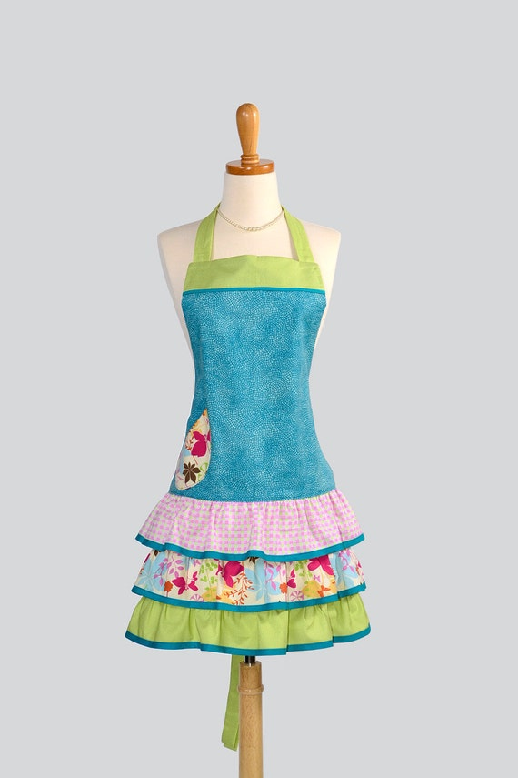 Ruffled Retro Apron . Flirty Full Womens Apron in Teal Lime Green Dots Butterfly Pink Green Checks Cute Ruffled Vintage Style Skirt
