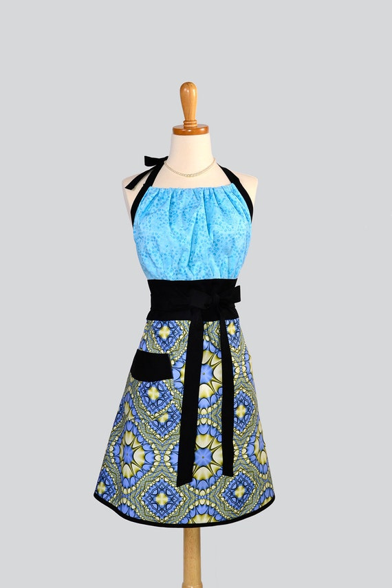 Cute Kitsch Apron : Spring Eternal Large Kaleidoscope Blue and Green Periwinkle
