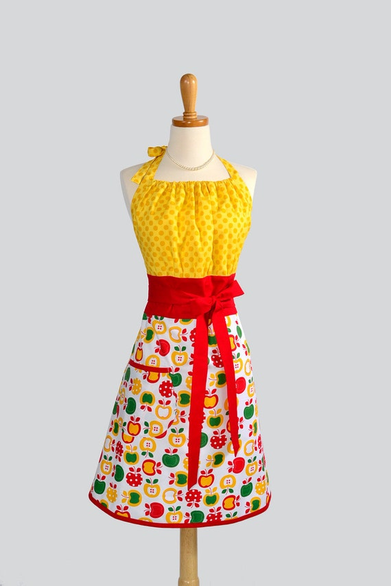 Cute Kitsch Apron : White Green Red Apples with Bright Yellow Bib