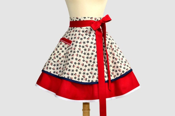 Waist  Half Womens Apron - Americana Independence Day 4th of July Red White and Blue Hearts and Stars