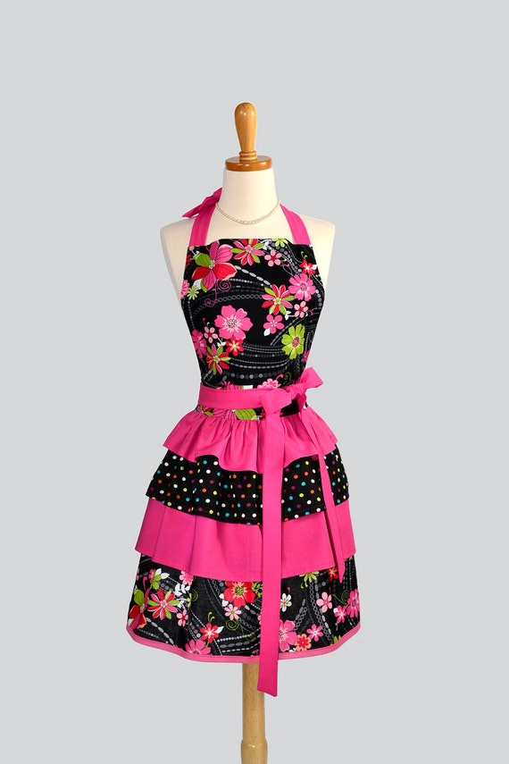 Ruffled Retro Apron - Sexy Handmade Womens Apron in Hot Pink and Black Bold Floral with Ruffled Skirt Full Kitchen Apron