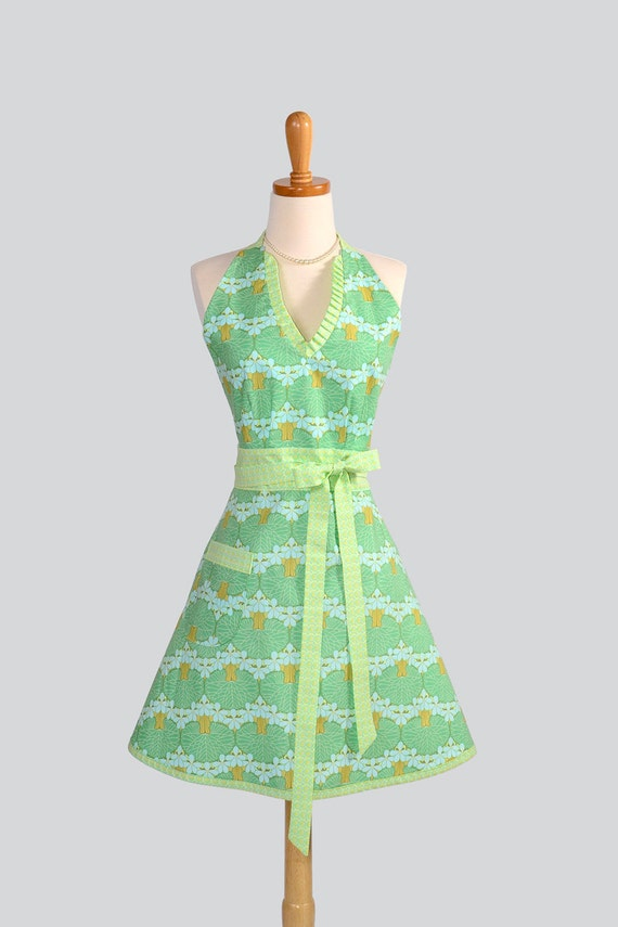 SALE 40% OFF Halter Womens Apron - Handmade Full Kitchen Apron in Amy Butler Lotus Leaf in Soft Aqua and Blue