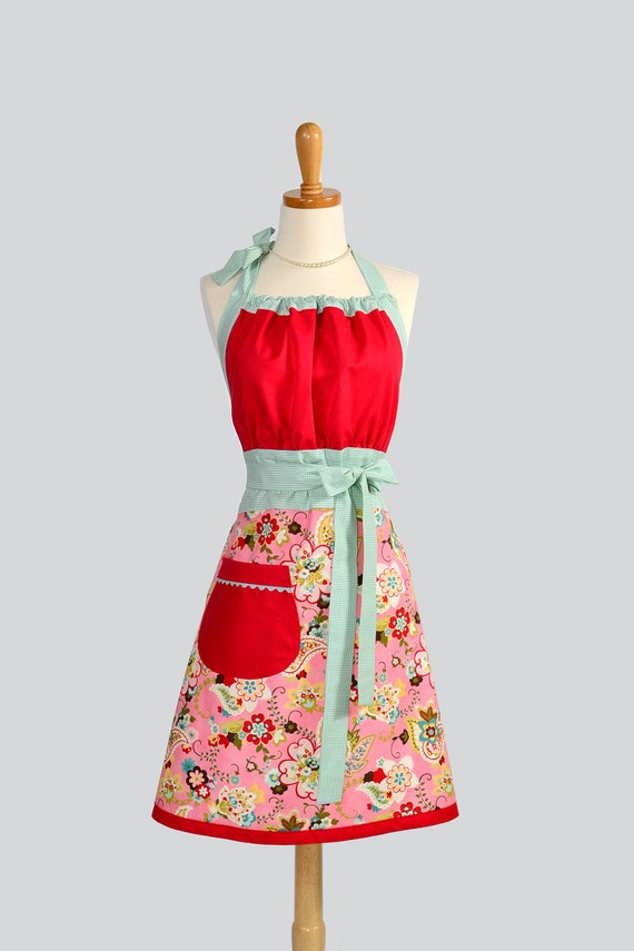 Cute Kitsch / Paisley in Pink Topped with Red and Trimmed in Light Aqua Houndstooth Equals a Bright and Cheerful Apron