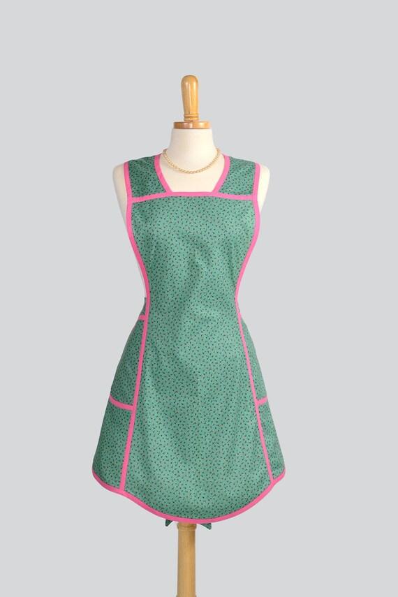 Retro Full Kitchen Apron , Handmade Cute Womens Apron in Vintage Petite Rosebuds on Sea Glass Green