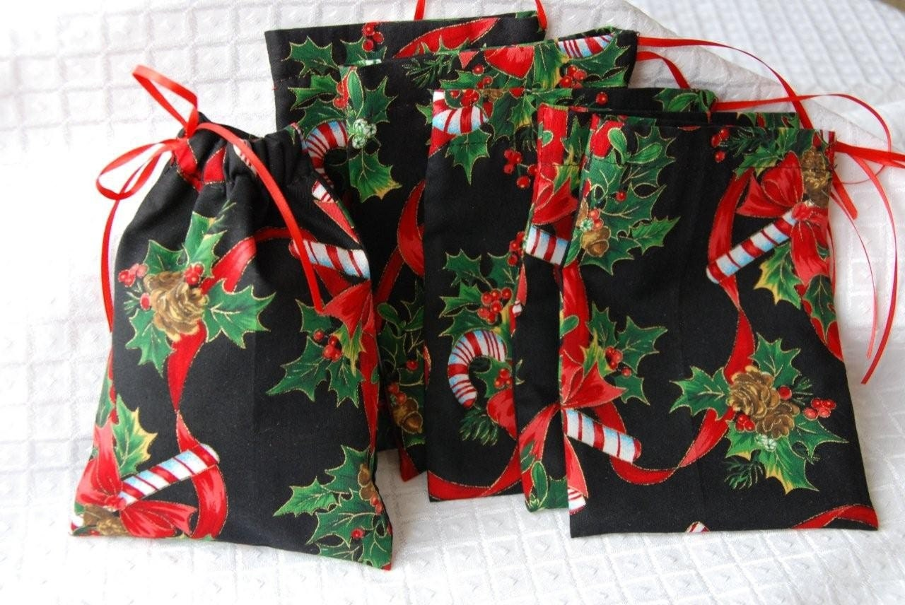 Christmas Gift Bag With Drawstring Closure In By Creativechics